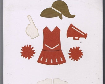NEW Quickutz CHEERLEADER UNIFORM 4x4 die Cheer pom pom megaphone outfit hair Works with Sizzix and Cuttlebug