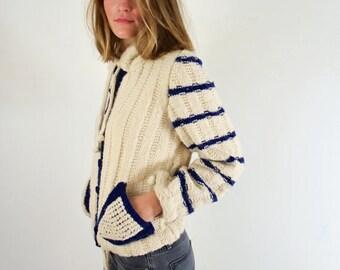 Handmade Striped Cardigan Sweater Cream and Navy