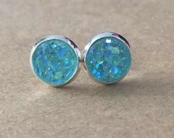 8mm Mint Druzy Earrings, Faux Druzy Stud Earrings