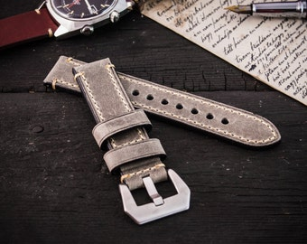 Gray genuine crazy horse leather watch strap (22mm) + watch pins & tubes, watch strap, watch band, wrist band
