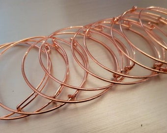 10 bangle blanks UK supplier Adjustable Stackers Bracelet copper colour adult size make your own stackable stacking add a charm UK seller