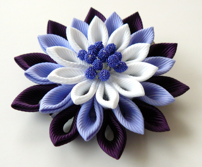 Kanzashi fabric flower hair clip plum iris and white zoom izmirmasajfo