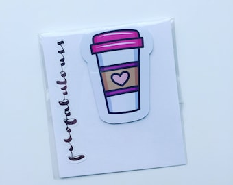 Pink Coffee Magnetic Book Mark - Page Marker