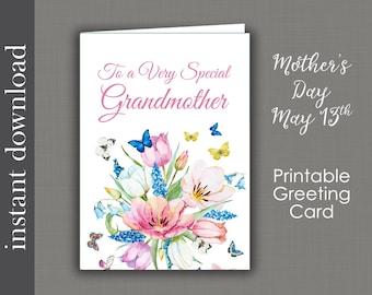 Grandmother Card, Printable Card, Grandma Mothers Day, Grandma Birthday, generic grandmother, diy card, card download, Grandma get well