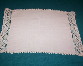 Vintage Linen tray cloth. Soft white linen tray cloth with lace edge.