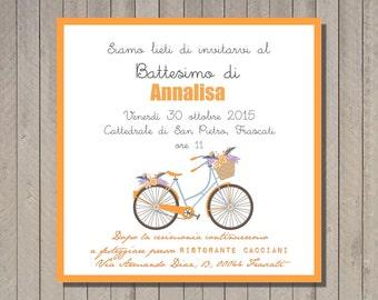 PDF, Baptism invitation card with bike, printable birthday card invititation- baby shower diy