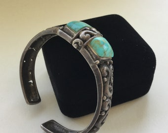 Native American Sterling Turquoise Cuff