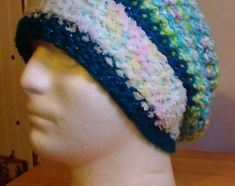 Crochet comfy multi teal slouchy hat