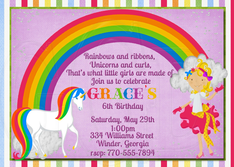 Unicorn Rainbow Birthday Invitation fancy girl invite
