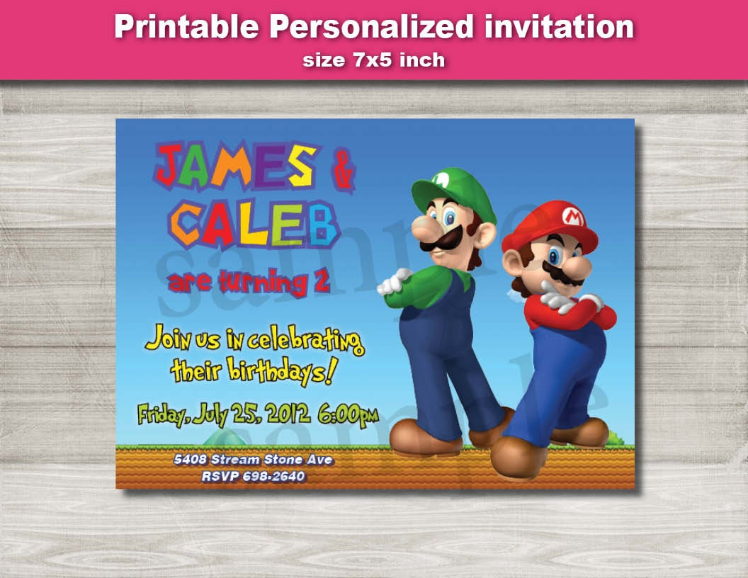 Super Mario party Birthday invitation Printable Digital