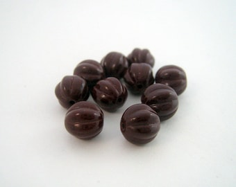 Set of 10 beads 8 mm Op melons. Cocoa Brown - VPRM8 0142