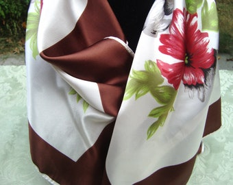 Vintage Scarf with Large Flowers Made in Japan