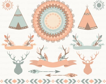 Tribal Boho Clip Art. Teepee Tents, feathers, borders, deer, mandala. Aztec Clipart. 12 images, 300 dpi. Eps, Png files. Instant Download.