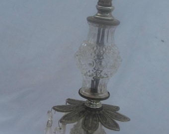 Antique Lamp with Prisms Cut Glass   Brass Bottom