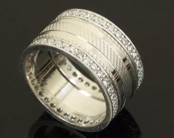 sterling silver ring White topaz