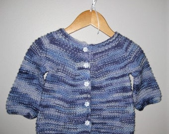 Hand Knitted Variegated Blue and Mauve Baby Girl Cardigan Sweater With Matching Hat