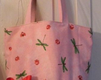 Pink Dragonfly firefly ladybug BAG Purse Tote BAG or Diaperbag