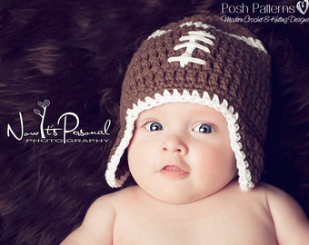 Crochet PATTERN - Football Hat Pattern - Crochet Pattern Hat - Crochet Patterns Boys - Crochet Patterns Baby - Includes 6 Sizes - PDF 114