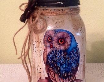Mason UpCycled Quart Jar.Owl Decor Country Home Owl  Lover Housewarming Gift Prim Burlap Owl Jar Country Kitchen Burlap Decor.  Prim Kitchen
