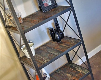 Industrial Rustic Bookcase. Vintage Style Shelving Unit Made with Historical Reclaimed Wood. Urban Loft Furniture. Modern Farmhouse. Shelf.