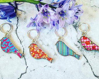 Bird Stitch Markers// Colourful Bird Progress Keeper// Knitting Marker// Zipper Pull