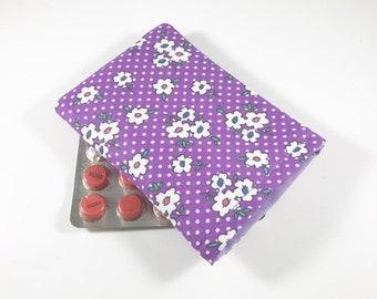 Purple Floral pilule cas, manche de la pilule contraceptive, pilule contraceptive titulaire
