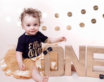First Birthday Outfit - Gold Name is ONE, 1st birthday bodysuit, cake smash outfit, birthday body suit, onesie, vest