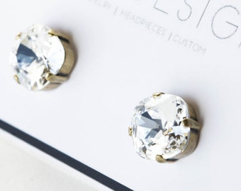 SALE Swarovski Crystal Antique Gold Stud Earrings