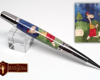 Hand Crafted Golfer Scene Wood Pen