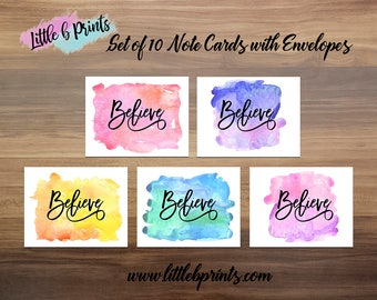 Believe Watercolor Splash Note Cards Set of 10