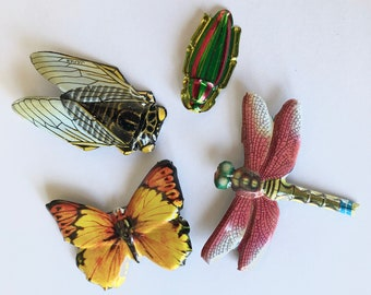4 Japanese Tin Litho Insect Pins