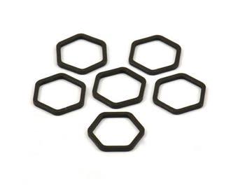 Black Hexagon Charm, 25 Black Oxidized  Brass Hexagon Shaped Ring Charms ( (12x1mm) Bs 1221 S118