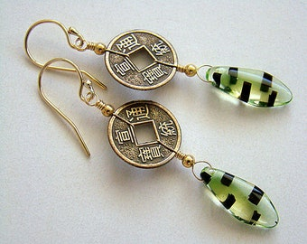 NeoAsia Earrings, Mini Chinese Coin Earrings, Bronze Coin Drop Earrings, Oriental Earrings, Antique Style, Boho Earrings, Green Czech Glass