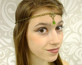 Antiqued Brass Circlet, Elven Chain Circlet with Emerald Green Gem, Renaissance Headdress, Crown, Medieval, Diadem