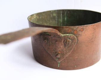 Antique Hand Hammered Riveted Copper Saucepan Dovetailed Heart Handled Pan Early American Kitchenware ~ Primitive Country Kitchen Decor
