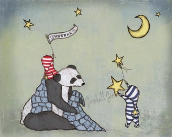 "Panda Art Print - ""Grrrrrr for Pandas""  Nursery Artwork Boy Room Decor Panda and Star"