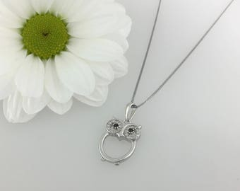 Solid Sterling Silver stone set Owl necklace. Owl pendant.