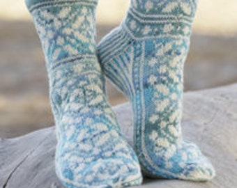 Hand knit socks. Wool socks. Hand knit lace socks. Bed socks. House socks. Girl and woman.