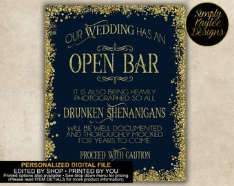 Navy and Gold Wedding Open Bar Sign