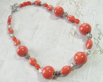 Orange-Peach Chunky Necklace