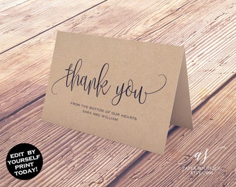Thank You Card Wedding Thank You Calligraphy Thank You Card Template Printable Thank You Folded Thank You  PDF Instant Download, AST01