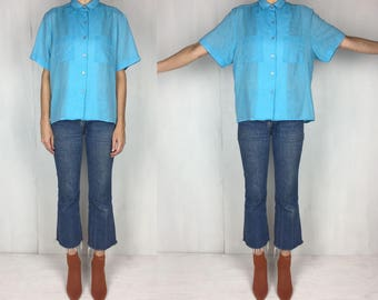 Oversized Turquoise Button Down  XL