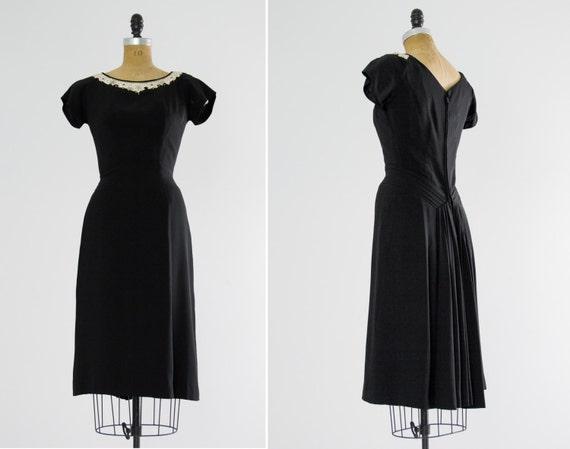 vintage 1940s cocktail dress | 40s rayon dress | 40s black dress | small medium