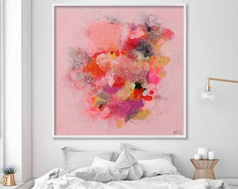 Abstract large print from Acrylic painting, Original Art, Canvas Art, Canvas Wall Art, Modern Art, pink painting, Duealberi