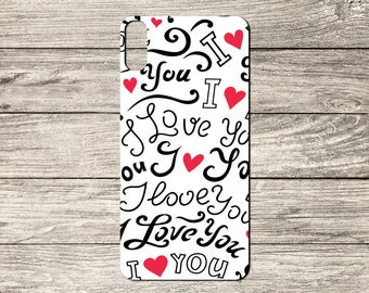 I Love You Text Pattern TPU Case For iPhone 5/5S 6/6S 7 8 & X (S416)