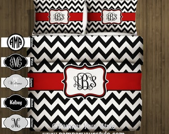 Monogrammed Chevron Duvet Cover - Black and white Chevron Comforter - Personalize with Name or Monogram - Custom Chevron Bedding