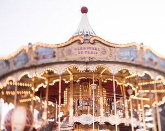 Paris Photography - Carrousel Magique, Carousel, Twinkle Lights, Paris Fine Art Photograph, Nursery Decor, Large Wall Art
