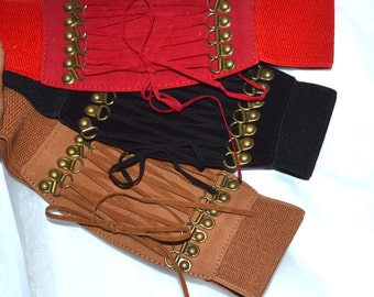 Wide elastic stretch corset belt,lace up belt,corset lace up belt, black belt,red belt,camel belt, 24 inch to 28 inch,