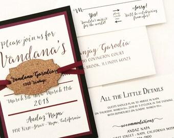 Winery Invitation with Wine Cork Hangtag - SAMPLE | Winery Wedding Invitation | Vineyard Wedding Invitation | Wedding Invitations | Cork