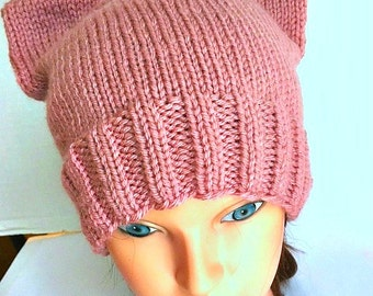 Day Without a Woman International Womens Day Cat Hat Kitty Cat Cap Rose Pink Adult Teen Womens March Washington Pussy Hat Project hand knit
